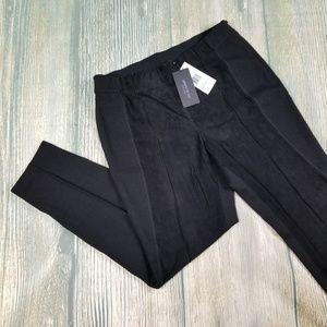 New LAFAYETTE 148  black front suede panel pants